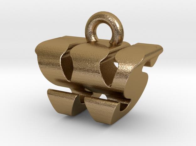 3D Monogram - WSF1 in Polished Gold Steel