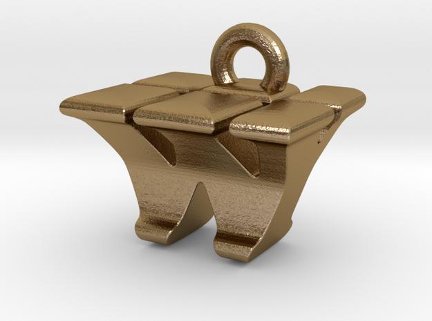 3D Monogram - WYF1 in Polished Gold Steel