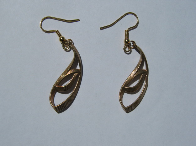 Thick Leaf Earrings in Natural Bronze