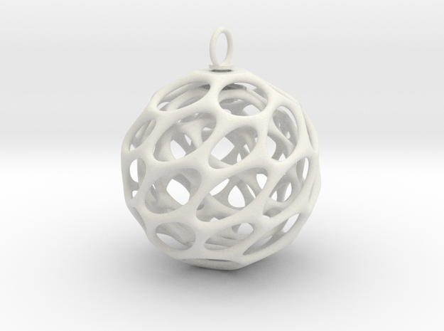 Christmas Bauble 5 in White Natural Versatile Plastic