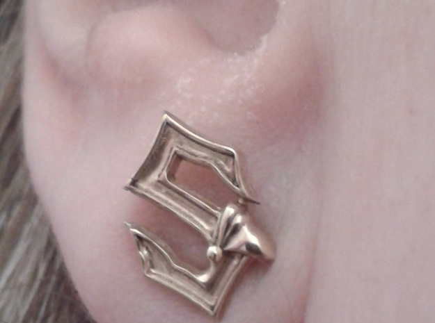 Sabaton Pin Earring in Polished Brass