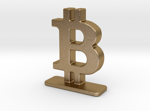 Bitcoin Stand in Polished Gold Steel