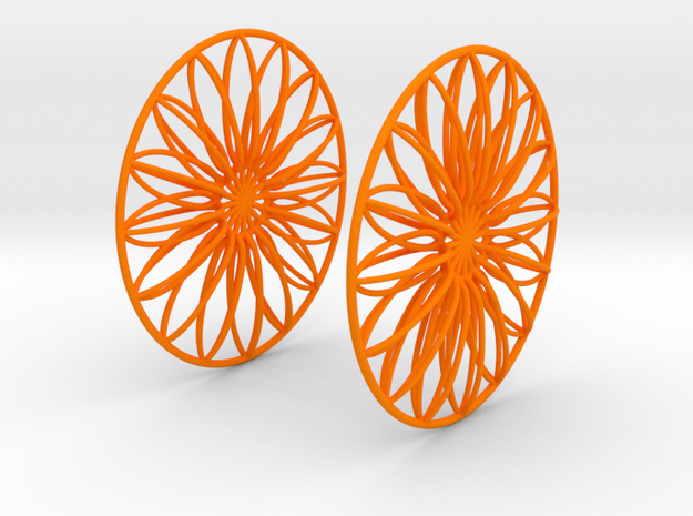 Flowerish 9 Big Hoop Earrings 60mm in Orange Processed Versatile Plastic