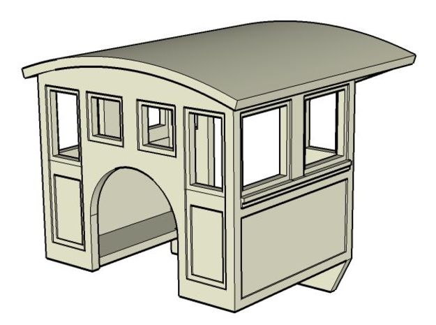 HOn30 steam Cab A in White Processed Versatile Plastic