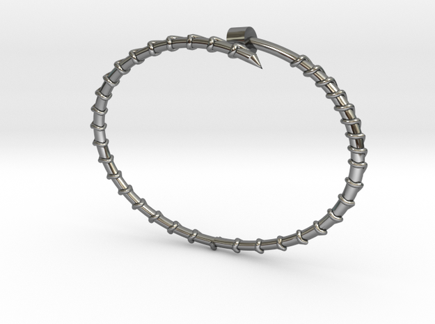Dainty Screw Bracelet -Large in Fine Detail Polished Silver