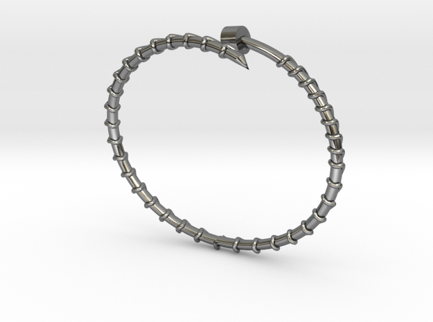 Dainty Screw Bracelet -Small in Fine Detail Polished Silver