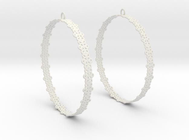 Knitted 2 Hoop Earrings 60mm in White Natural Versatile Plastic