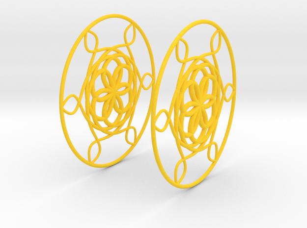 Flowerish 6 Big Hoop Earrings 60mm in Yellow Processed Versatile Plastic