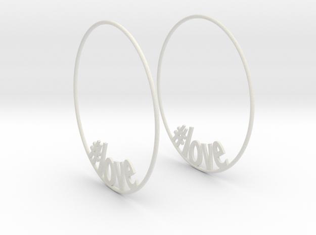 Hashtag Love Hoop Earrings 60mm in White Natural Versatile Plastic