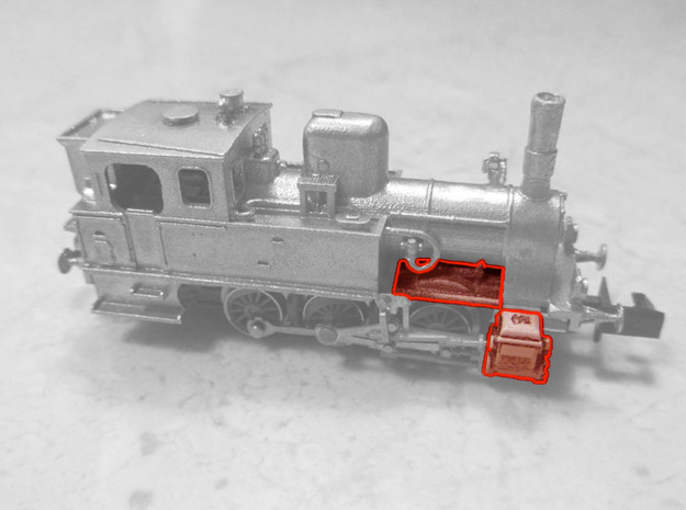 Plastic accessories for DSB F locomotive in N scal in Frosted Ultra Detail