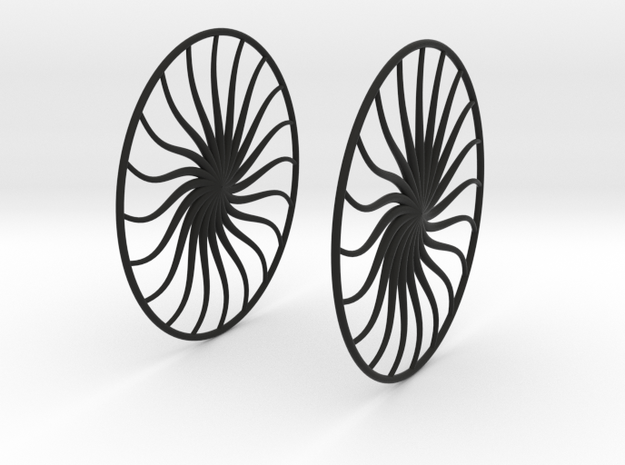 Flowerish 4 Big Hoop Earrings 60mm in Black Natural Versatile Plastic