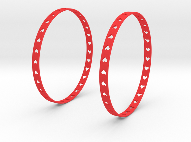 Big Hoop Earrings With Hearts 60mm in Red Processed Versatile Plastic