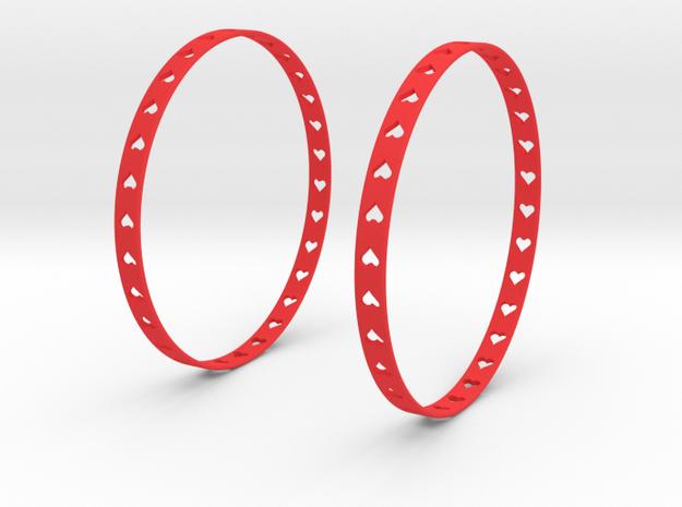 Big Hoop Earrings With Hearts 60mm in Red Processed Versatile Plastic