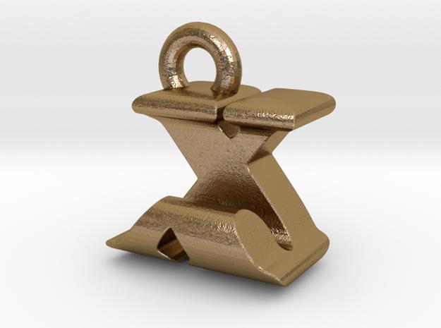 3D Monogram - XJF1 in Polished Gold Steel
