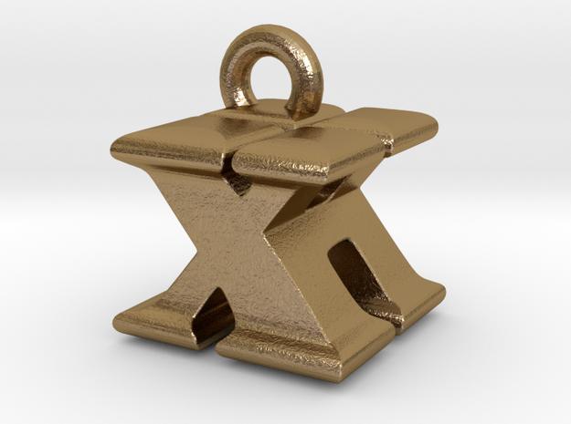 3D Monogram - XHF1 in Polished Gold Steel