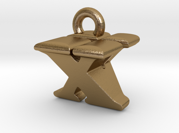 3D Monogram - XVF1 in Polished Gold Steel