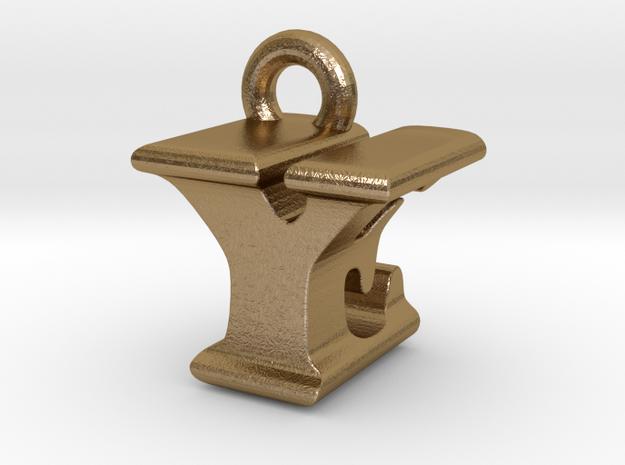 3D Monogram - YEF1 in Polished Gold Steel