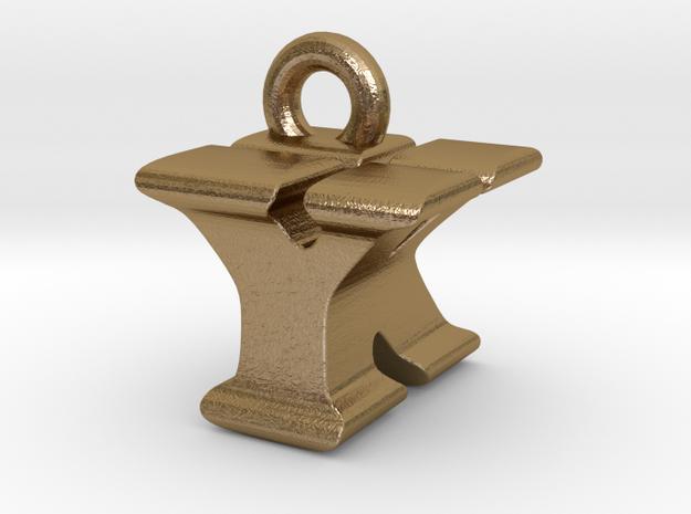 3D Monogram - YKF1 in Polished Gold Steel