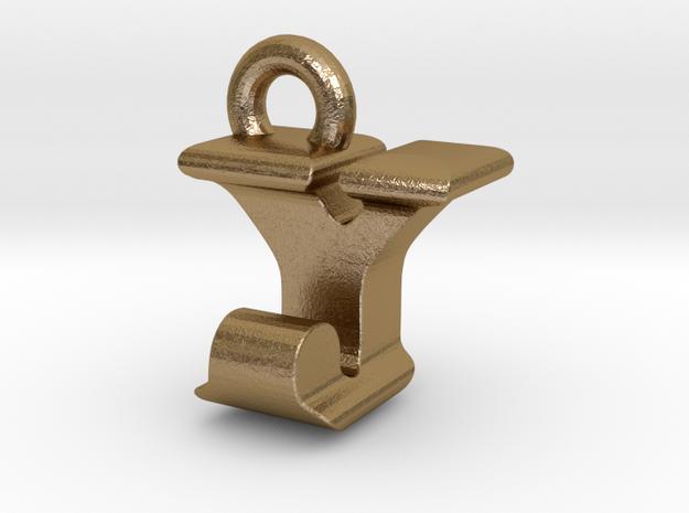 3D Monogram - YJF1 in Polished Gold Steel