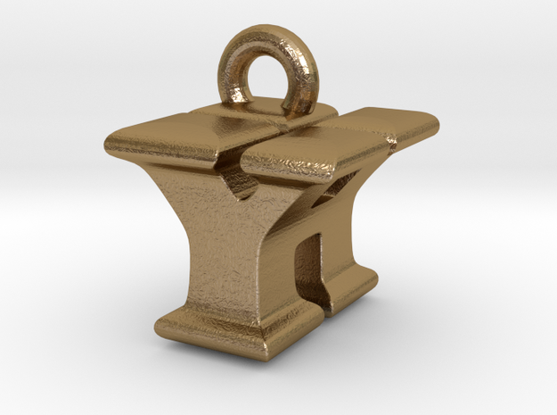 3D Monogram - YHF1 in Polished Gold Steel