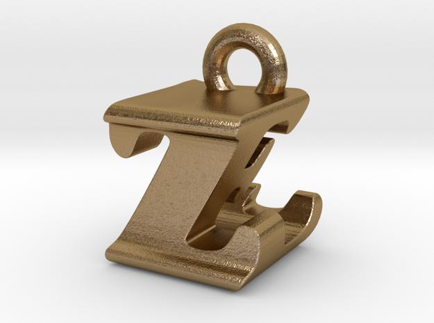 3D Monogram - ZEF1 in Polished Gold Steel