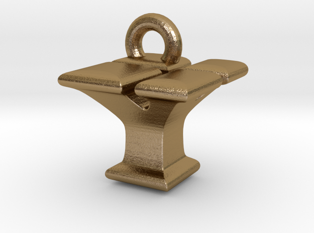 3D Monogram - YYF1 in Polished Gold Steel
