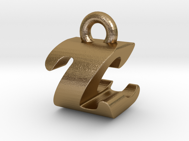 3D Monogram - ZCF1 in Polished Gold Steel