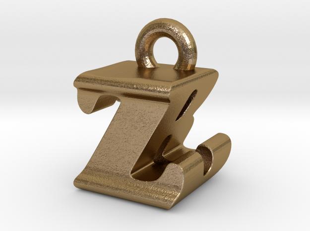 3D Monogram - ZBF1 in Polished Gold Steel