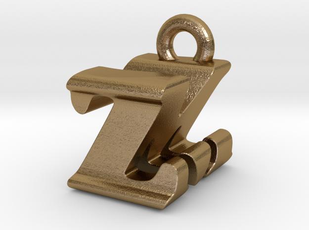 3D Monogram - ZMF1 in Polished Gold Steel