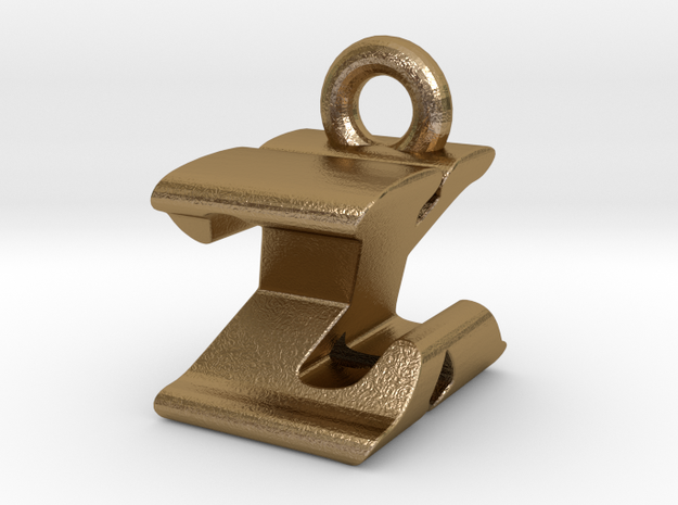 3D Monogram - ZXF1 in Polished Gold Steel