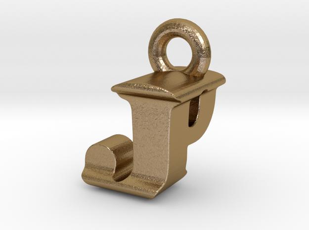 3D Monogram Pendant - JPF1 in Polished Gold Steel