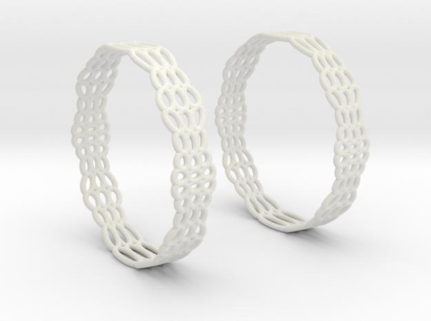 Wired Beauty 2 Hoop Earrings 50mm in White Natural Versatile Plastic
