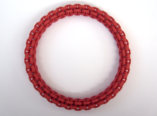 Scoobie Bracelet (New) 3d printed Top view in Red Strong and Flexible