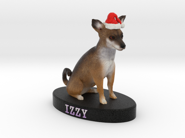 Custom Dog Figurine - Izzy (with red Santa hat) 3d printed
