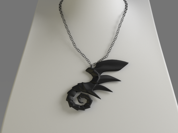 Dragoner Pendant in Black Natural Versatile Plastic