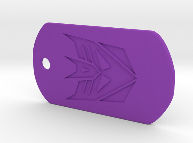 Decepticon Dog Tag in Purple Processed Versatile Plastic