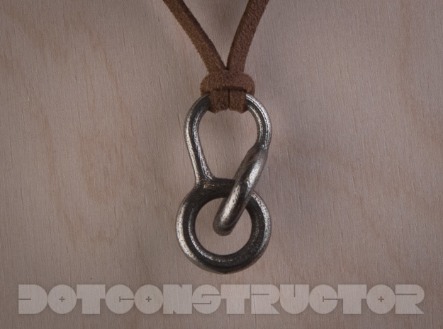 Interlocking Hoops Keychain in Polished Bronzed Silver Steel