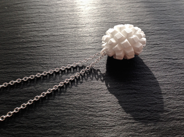 """Granat"" Geometric Pendant in White Natural Versatile Plastic"