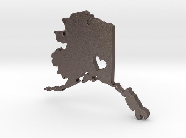 I Love Alaska Pendant in Polished Bronzed Silver Steel