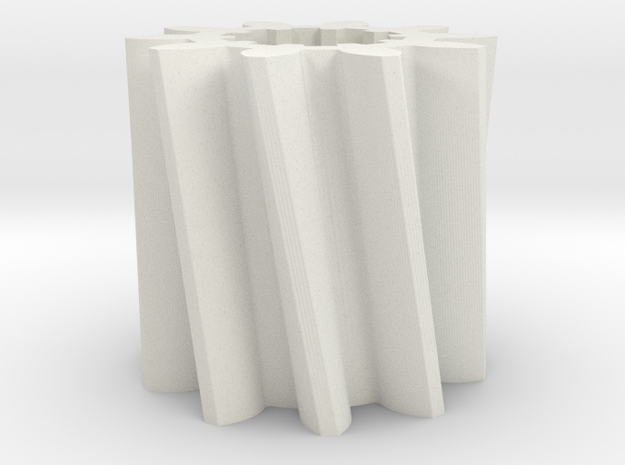 Gear Mn=4 Z=10 Pressure Angle=20 Beta=25 Left in White Natural Versatile Plastic