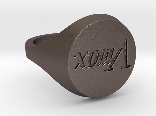 Bague Vmax (ShapeJS) T59 in Polished Bronzed Silver Steel