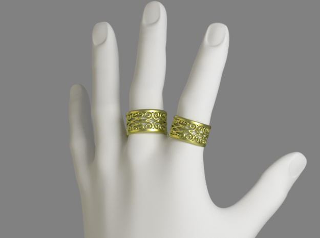 Noble Vines Ring - EU Size 58 in Polished Gold Steel