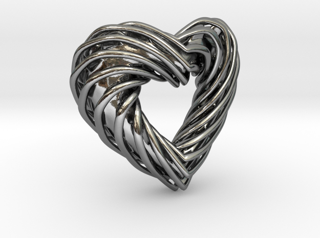 Pendant_SPH Curve Heart in Fine Detail Polished Silver