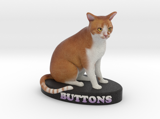 Custom Cat Figurine - Buttons 3d printed
