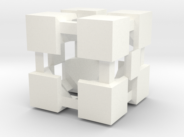 Cube in White Processed Versatile Plastic