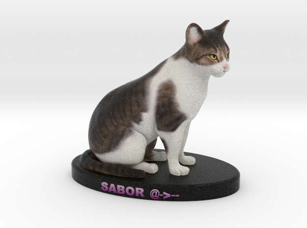 Custom Cat Figurine - Sabor in Full Color Sandstone