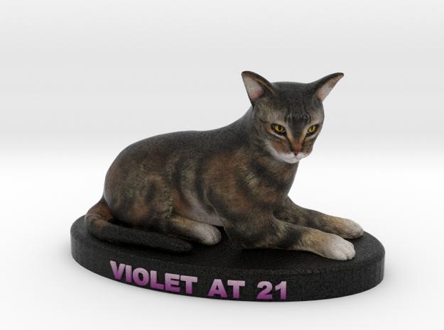 Custom Cat Figurine - Violet in Full Color Sandstone