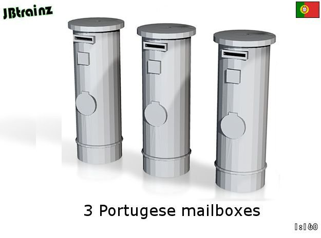 3 Portuguese mailboxes (1:160) in Frosted Ultra Detail