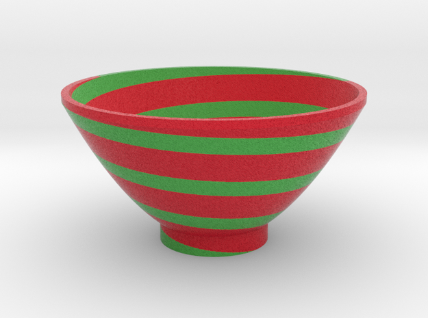 DRAW bowl - spiral red green in Full Color Sandstone