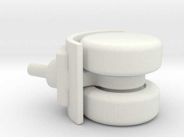 Double wheel for furniture in White Natural Versatile Plastic